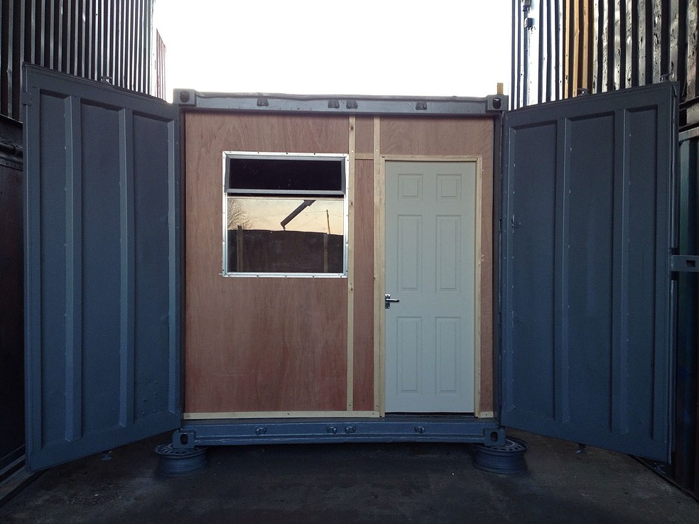 10ft x 8ft Blue Used Shipping Container Office — www ...