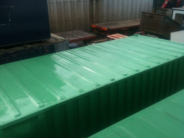 Green 20ft x 8ft Used Shipping Container top