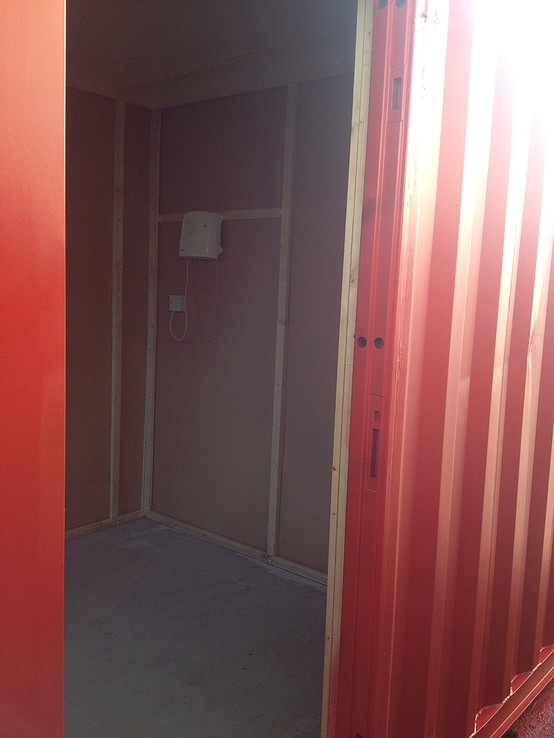 Portable Office Shipping Container through doorway