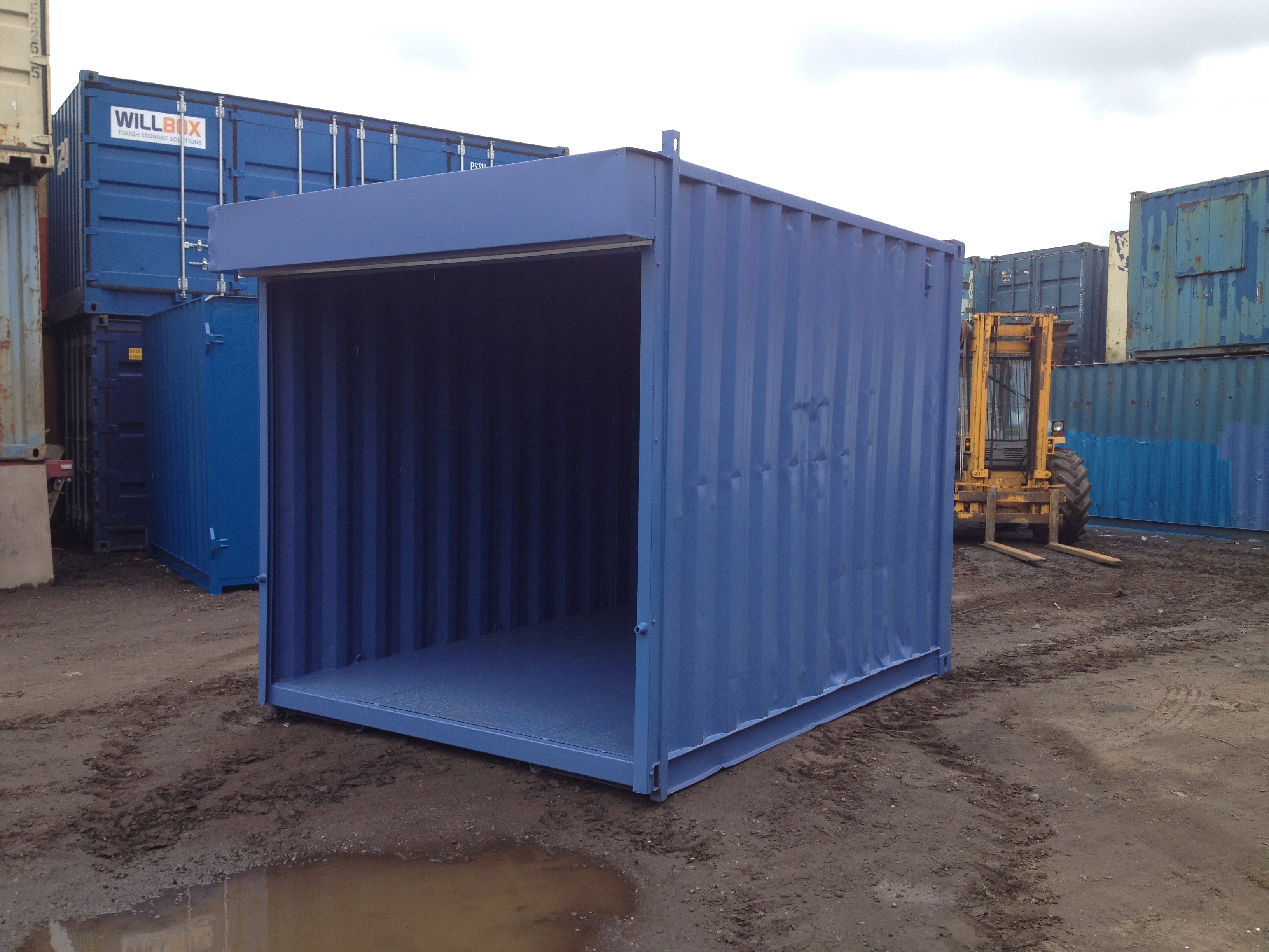 10ft x 8ft Blue Used Shipping Container With Roller Shutter