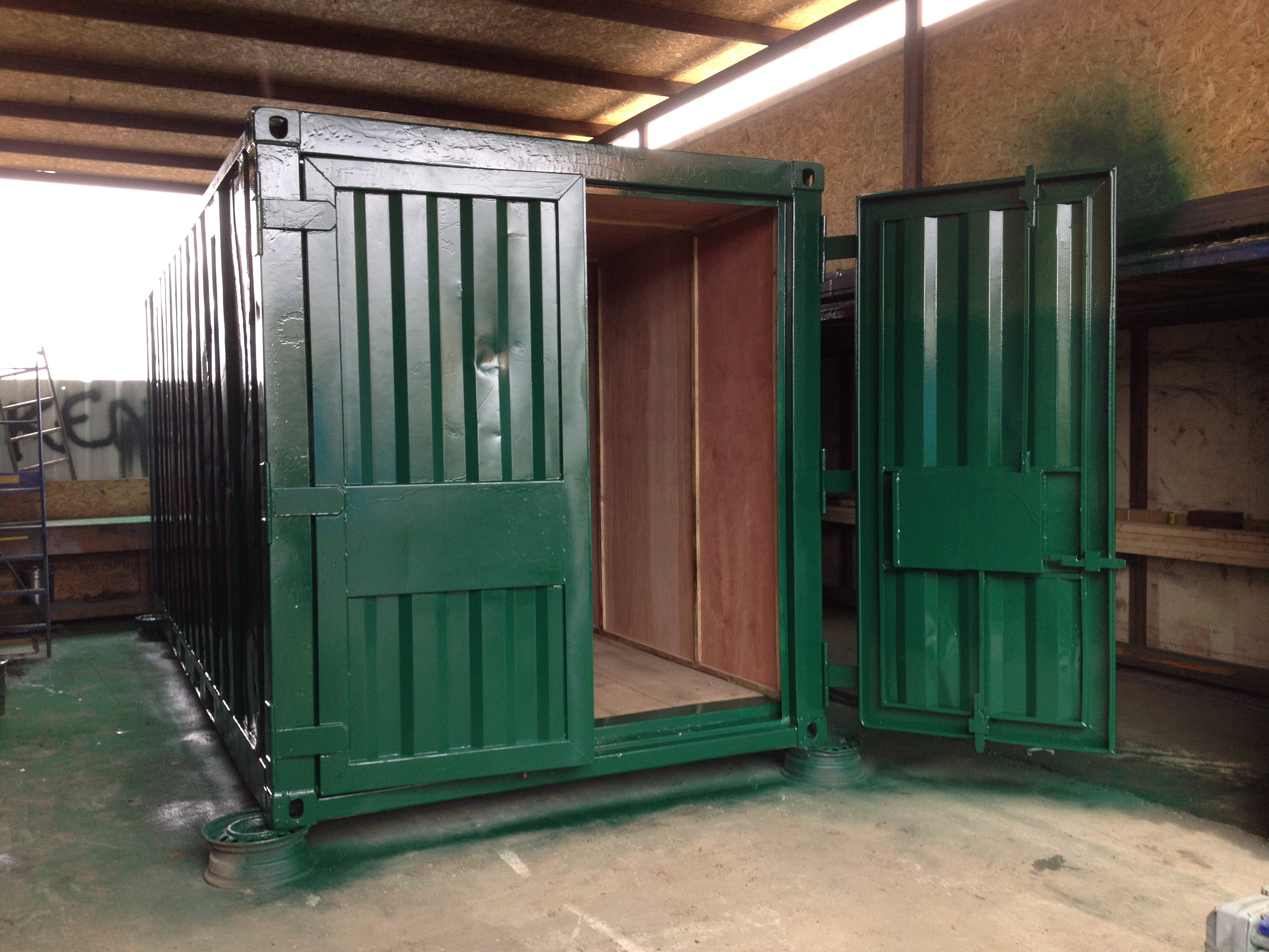 20ft X 8ft Green Used Storage Container Ply Lined Www
