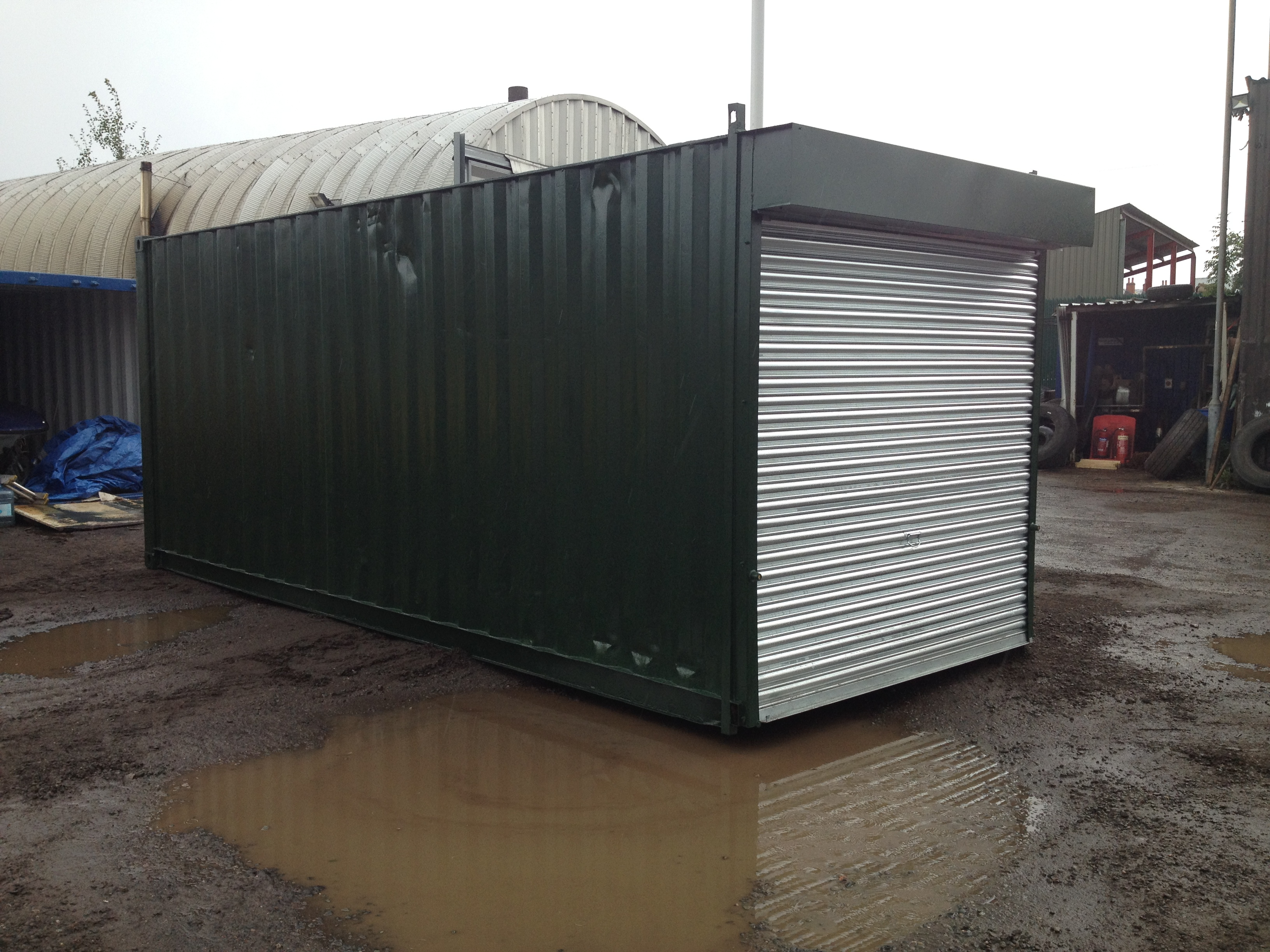 20ft x 8ft Green Used Storage Container Roller Shutter Door www