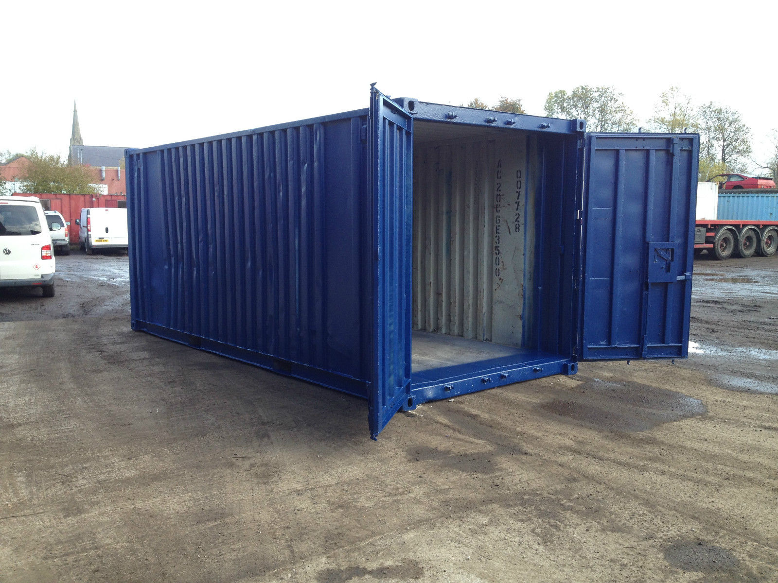 20ft x 8ft blue used shipping container. Black Bedroom Furniture Sets. Home Design Ideas