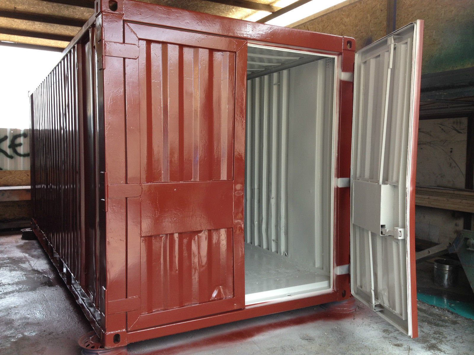 20ft x 8ft Red Used Shipping Container