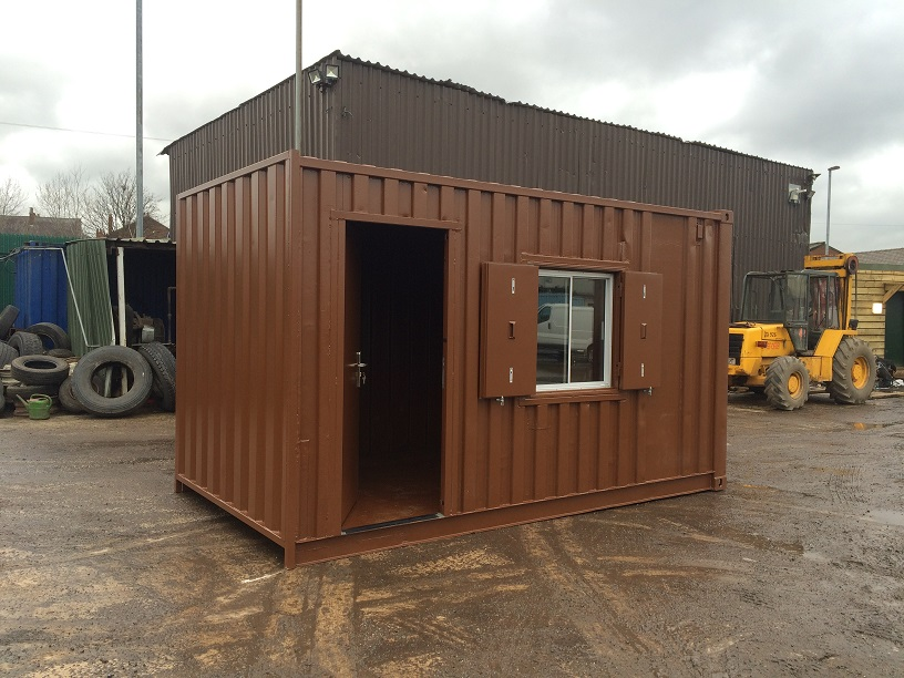 16ft x 8ft brown container office storage. Black Bedroom Furniture Sets. Home Design Ideas