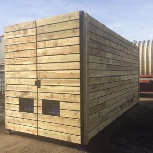 20ft x 8ft Blue Used High Cube Shipping Container Timber Cladded